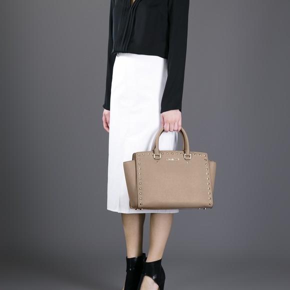 62792a217d0f Michael Kors Bags | Selma Studded Satchel Ash Grey | Poshmark